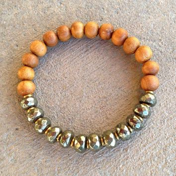 Confidence and Healing, Pyrite and Sandalwood Bracelet