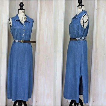 Denim maxi dress size L /  long loose fit jean dress / sleeveless summer denim dress