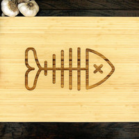 Fish Bones Cutting Board (Pictured in Natural), approx. 12 x 16 inches, Bamboo Wood - Wedding gift, Anniversary Gift, Chef Gift