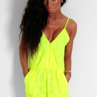 Carino Neon Yellow Plunge Front Lace Playsuit | Pink Boutique
