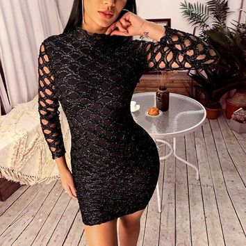 Glitter Hollow Out Bodycon Dress Women Long Sleeve Pencil Dresses Sexy Club Party Dress Red Black Vestidos mujer