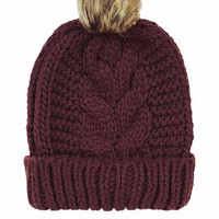 Cable Faux Fur Pom Beanie - Burgundy