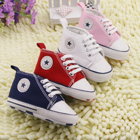 2015 Hot Sale sapatos bebes crochet baby shoes first walkers chaussure enfant brand baby shoes allstar canvas shoes 11 12 13 cm