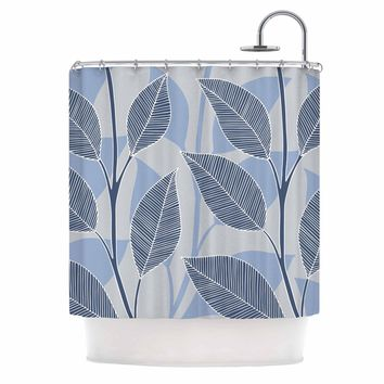 """julia grifol """"Leaves In Blue"""" Blue Gray Floral Pattern Vector Shower Curtain"""