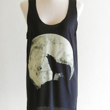 Howling Wolf Fox -- animal art design animal t-shirt black t-shirt women t-shirt tank top tunic fox wolf  t-shirt size s, m