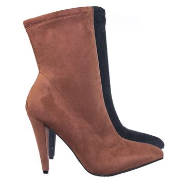 Magnolia07 Pointed Toe Stretchy High Heel Ankle Dress Bootie, Women Dress Shoes