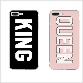Cool Case King Queen Durable Ultra Thin Transparent Originality Clear Back for iPhone 4 4S 5 5S 5C SE 6 6S 7 8 Plus X Soft TPU CoverAT_93_12