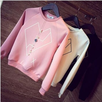 Women Geometric Heart Print Long Sleeve Crew Neck Pullover Shirt Blouse Candy Casual Sweatshirt Jumper Tops F_F