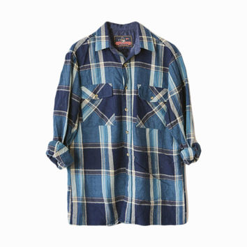Vintage 80s Mixed Blue Plaid Flannel Shirt / 1980s Lumberjack Shirt - men's medium