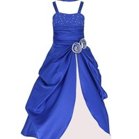 Sleeveless Satin Pageant Party Occasion Flower Girl Dress 4 to 14 Years