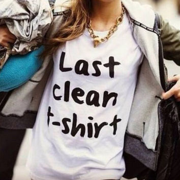 Women Men White Tops last clean Letter T-Shirts +Free Gift -Random Necklace-110