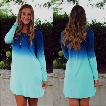 Hot Sale Long Sleeve Gradient Print One Piece Dress = 4806619396