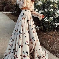 New White Butterfly Print Ruffle Off Shoulder Bandeau 2-in-1 Draped Flowy Elegant Maxi Dress