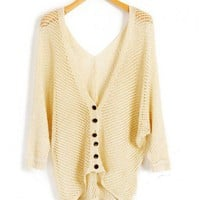Contrast Button Knitted Cardigan with Batwing Sleeves