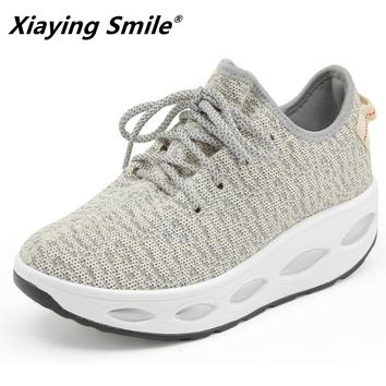 Xiaying Smile Height increasing Wedge sneakers sport shoes women Light weight zapatillas Women lace up Shoes Breathable