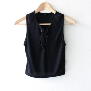 Lace Up Sleeveless Crop Top - Black