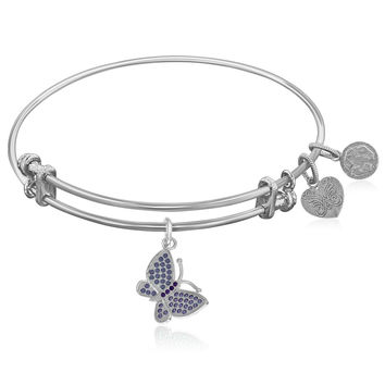 Expandable White Tone Brass Bangle with Purple CZ Butterfly Symbol