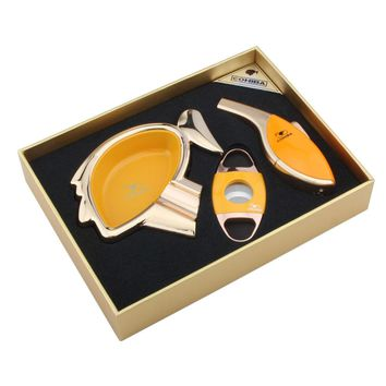 COHIBA High grade yellow cigar set with Cartoon avatar shape ashtray ,cutter and lighter good gift for friend