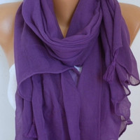 Purple Cotton Tasselled Scarf Shawl Spring Summer Scarf Cowl Oversized Wrap Gift Ideas For Her Women Fashion Accessories Mother Day Gift