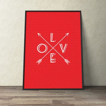 Custom Home Decor- L O V E Arrows with Chevron Background Wall Art