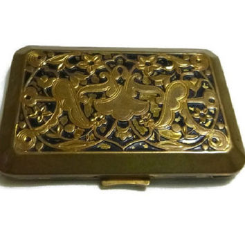 30's Art Nouveau Compact, Hudnut Art Deco Vanity Case, Vintage 1930's Enamel Gold Tone Compact, Flapper Era Beauty Makeup Vanity Collectible