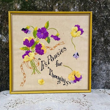 Its Pansies for Thoughts Vintage Crewel Embroidery Wall Hanging Picture