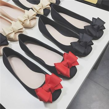 EOEODOIT Jelly Flats Women 2018 Spring Summer Flat Heel Square Toe Bow Shoes Sandals Slip Resistance Durable Wear Rain Shoes
