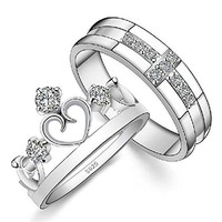 Dear Deer White Gold Plated Cross and Crown Couple Style Band Ring (Choice of Men's OR Women's)