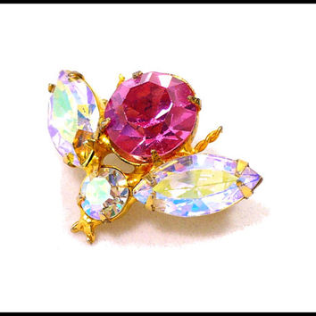 AB & Pink Rhinestone Fly Brooch, Gold and Aurora Borealis, Summer Beach Jewelry, Rockabilly Style, Graduation Gift For Her