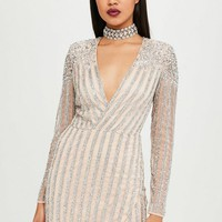 Missguided - Carli Bybel x Missguided Nude Embellished Mini Dress
