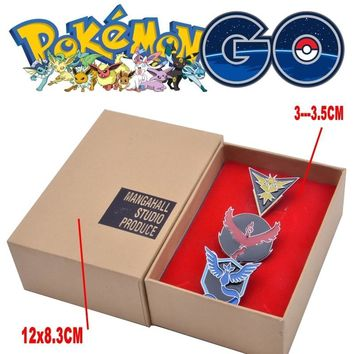 Mew  GO Team Valor Mystic Instinct Badges Metal Pins+Box Cosplay Collection Box Gift For Kids AdultKawaii Pokemon go  AT_89_9