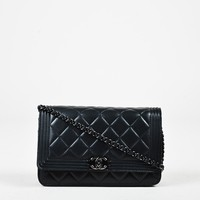 "Chanel Black Quilted Leather Chain Strap Mini Boy ""WOC"" Crossbody Bag"