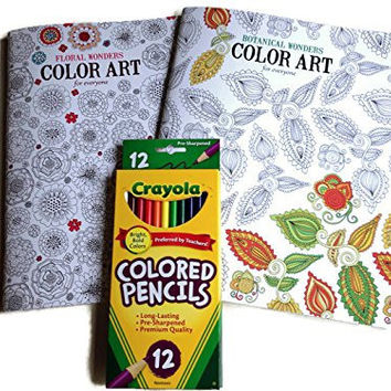 Adult Coloring Book: Stress Relieving Patterns - Floral Wonders,botanical Wonders and Designs 2 Book Set with Colored Crayola Pencils Gift Bundle