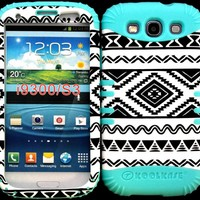 Hybrid Impact Rugged Cover Case Exclusive Black and White Tribal Aztec Pattern Hard Plastic Snap on Baby Teal Silicon Skin for Samsung Galaxy Slll S3 Fits Sprint L710, Verizon I535, At&t I747, T-mobile T999, Us Cellular R530, Metro PCS and All