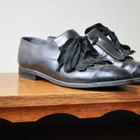 Vintage black / green leather Oxfords size 4