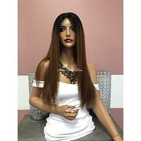 Brown Ombré  Swiss Lace Front Wig 24"