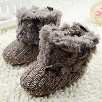 New Baby Shoes Fantastic Infant Baby Crochet Knit Boots Booties Toddler Boys Girls Shoes Winter Snow Crib Shoes Hot