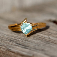 10k Heart Shaped Blue Topaz Ring by TwiceBakedVintage on Etsy