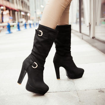 Suede Round Toe High Heel Metal Embellished Knee High Slouch Boots