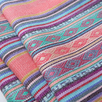 Aztec Fabric, Peruvian Fabric, Woven, Pale Pink Lima Stripes, 1 Yard