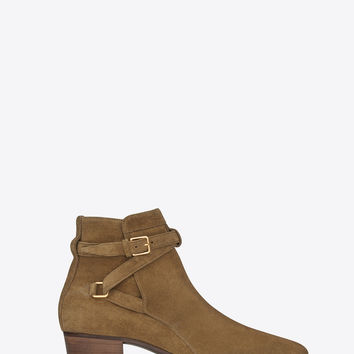 SAINT LAURENT SIGNATURE BLAKE 40 JODHPUR BOOT IN CIGAR SUEDE | YSL.COM