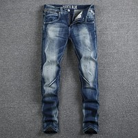 Blue Color Elastic Men's Jeans