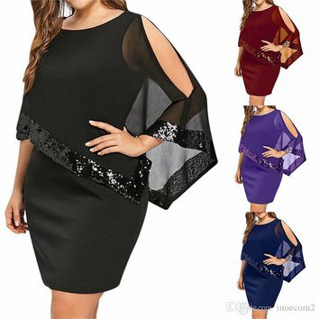 Fashion Sexy Female Plus Size Dress Crew Neck Irregular Sequin Stitching Women's Polyester Casual Summer Beach Dress 5 Colors