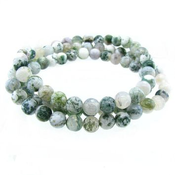 6mm Round Stackable Triple raw stone Bead Stretchy Bracelet / Necklace