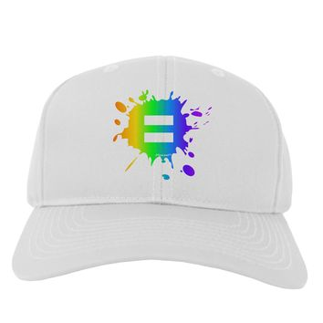 Equal Rainbow Paint Splatter Adult Baseball Cap Hat by TooLoud