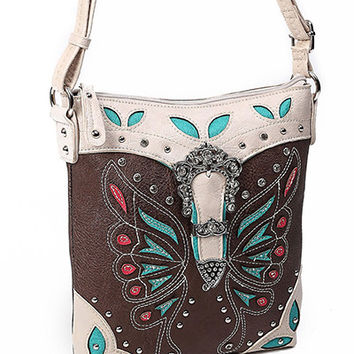Western Rhinestone Buckle Butterfly Cross Body Bag MORE COLORS
