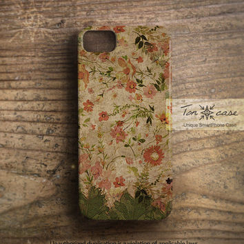 Floral iPhone 5 case - Leaf iPhone 4 case, Botanical iPhone 4s case, shabby chic, nature, natural, old flower - leaf with floral (c50)