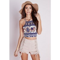Missguided - Elephant Print Tie Back Crop Top