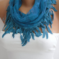 Blue Lace Scarf- Shawl Headband - Cowl with Lace Edge