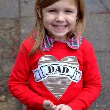 Dad Red long sleeves Tattoo Heart Valentine's Day Fathers Day Heart Dad LOVE for Father this T Shirt is for Father's Day